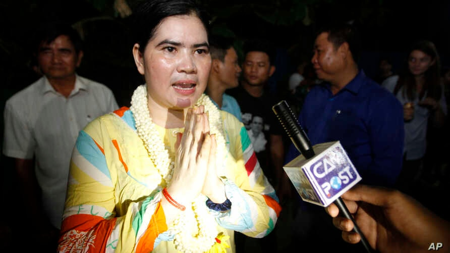 A prominent leader of Cambodia's land rights activist Tep Vanny, upon arrival at her home in Boeung Kak, in Phnom Penh, Cambodia, Aug. 20, 2018.