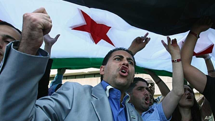 Opponents of the Syrian regime demonstrate with a national flag after their meetings on Turkey's Mediterranean coastal city of Antalya, June 2, 2011