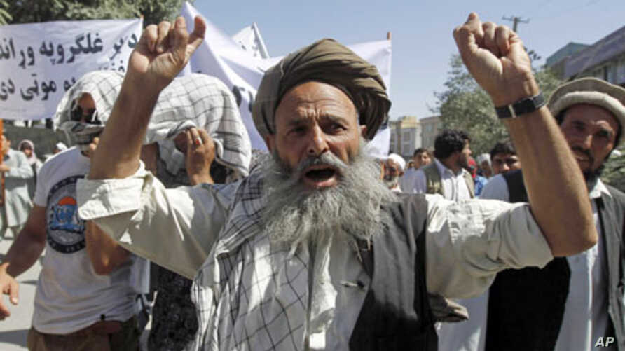 """An Afghan man shouts anti-Pakistan slogans during a demonstration in Kabul. Around 150 Afghans took to the streets in the capital Kabul on Saturday, chanting """"Death to Pakistan"""" in protest against the weeks of cross-border shelling of two eastern pro"""