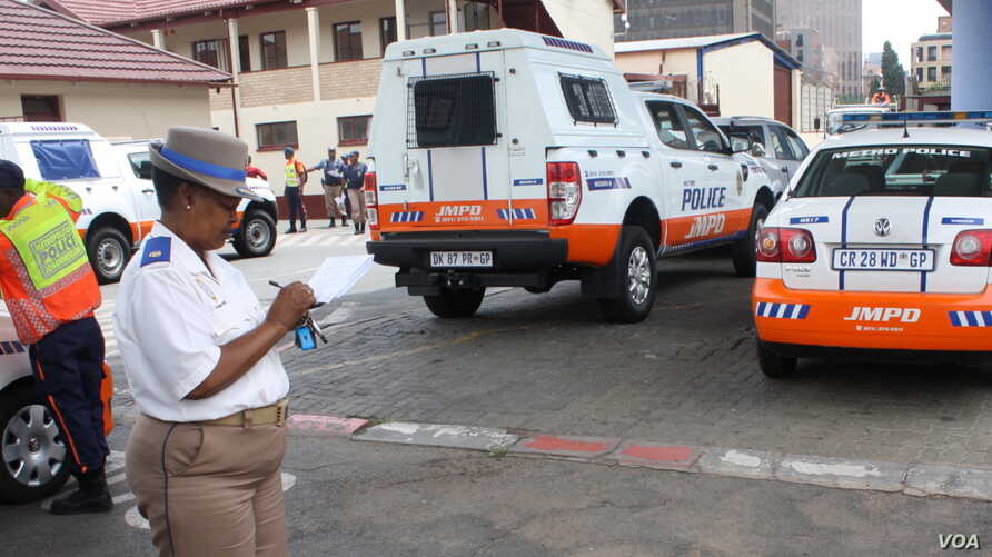 Superintendent Edna Mamonyane, at the Johannesburg Metro Police Department headquarters, says the nation's drivers are 'addicted to speed.' (D. Taylor for VOA)