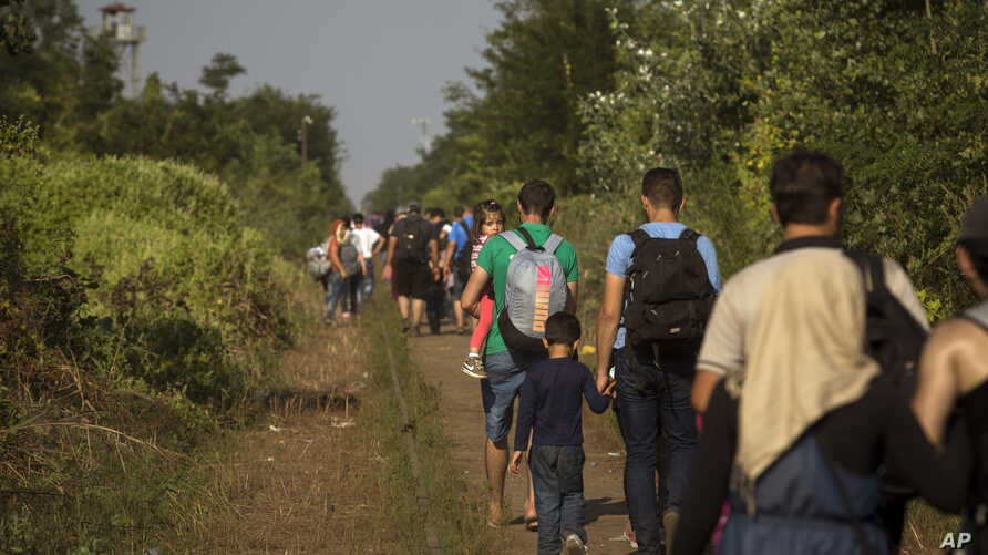 Syrian refugees walk across railway tracks next to the Serbian town of Horgos to cross the border and enter Hungary, Sept. 1, 2015.