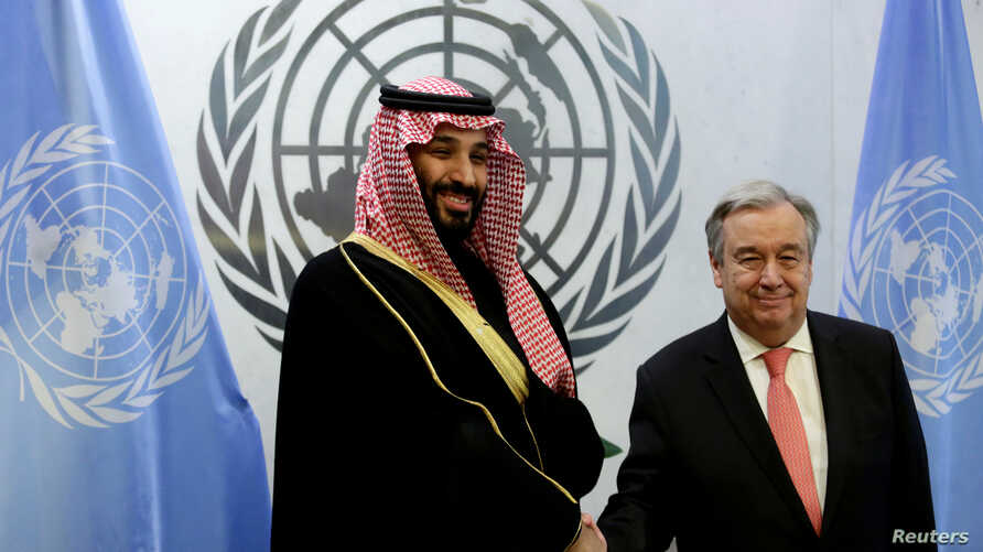 Saudi Arabia's Crown Prince Mohammed bin Salman Al Saud shakes hands with U.N. Secretary-General Antonio Guterres during a photo opportunity at the United Nations headquarters in the Manhattan borough of New York City, New York, March 27, 2018.