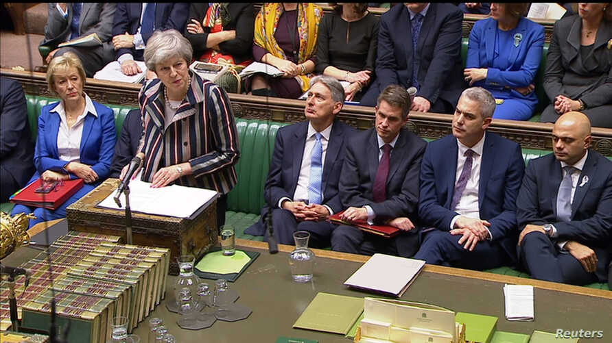 Britain's Prime Minister Theresa May makes a statement in the House of Commons, London, Britain, Nov. 26, 2018.