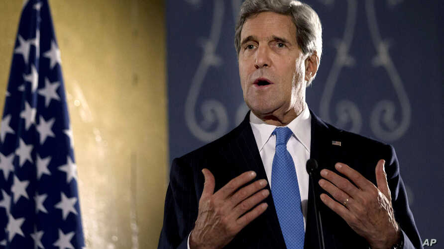 FILE - U.S. Secretary of State John Kerry speaks during press conference in Cairo, Nov. 3, 2013.