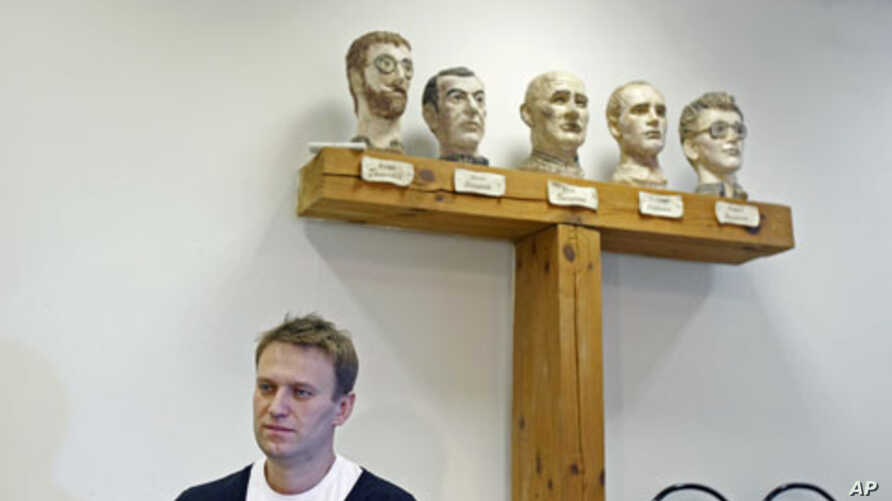 Russian opposition leader Alexei Navalny - released from jail December 21, 2011, after being detained at the first of several large opposition rallies, will be participating in the next mass protest planned for December 24 - speaks during an intervie