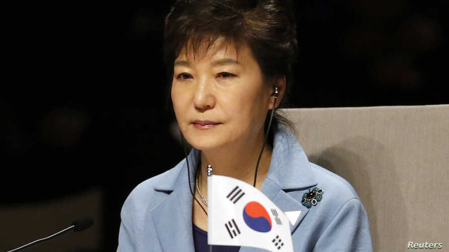 South Korea's President Park Geun-hye attends the opening session of the Nuclear Security Summit (NSS) in The Hague, March 24, 2014.