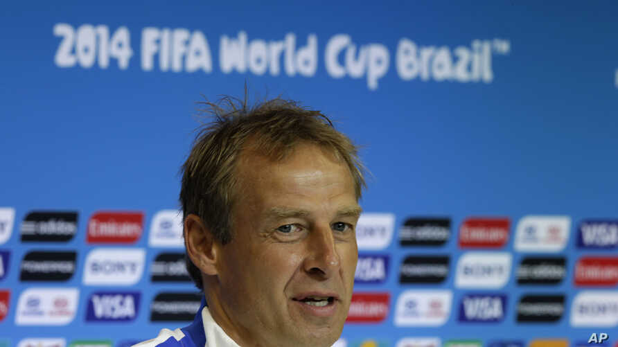 United States' head coach Jurgen Klinsmann speaks during a press conference the day before the World Cup round of 16 soccer match between Belgium and the U.S. at Arena Fonte Nova in Salvador, Brazil, June 30, 2014.