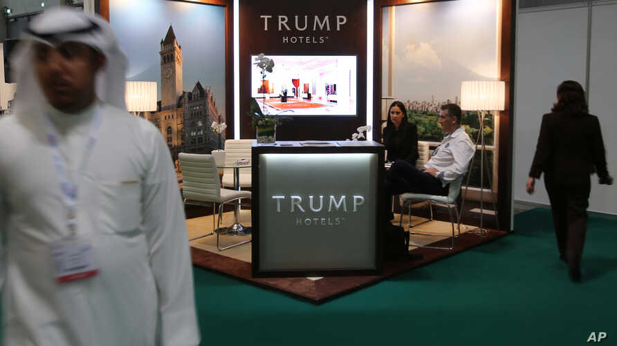 Trump Hotels, the brand bearing the last name of Republican presidential candidate Donald Trump, has a stand at the Arabian Travel Market exhibition being held in Dubai, United Arab Emirates, April 26, 2016.