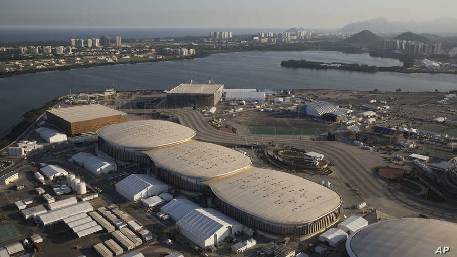 File - The Olympic Park of the 2016 Olympics is seen from the air, in Rio de Janeiro, Brazil, July 4, 2016. The International Olympic Committee said on Sunday, July 9 2017, that it has declined to step in and help Rio Olympic organizers with a debt e