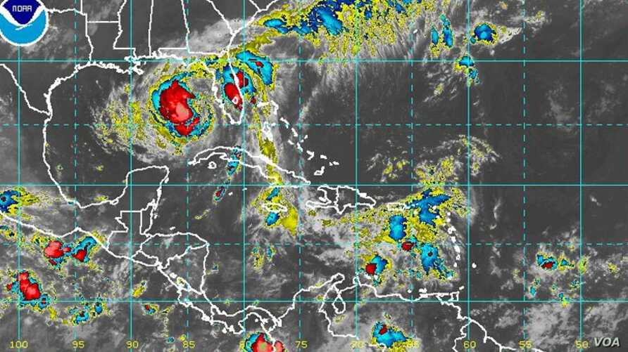 Satellite image of Tropical Storm Isaac, August 28, 2012.