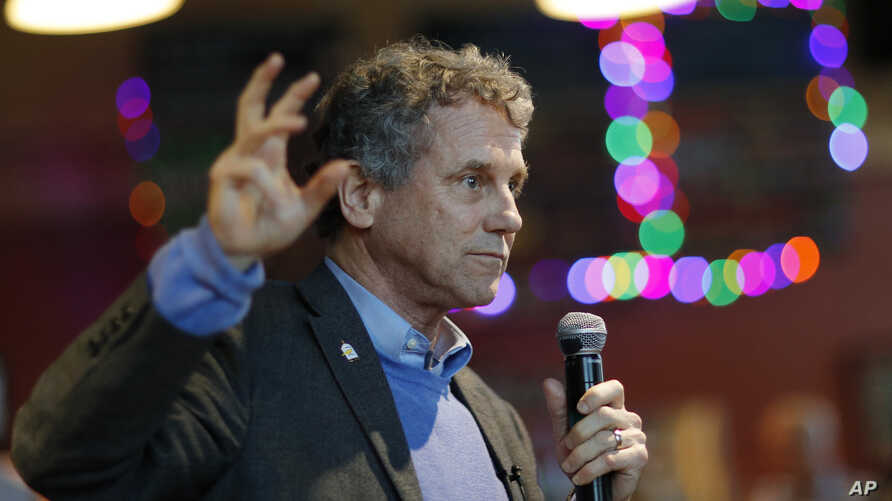 FILE - U.S. Sen. Sherrod Brown, Democrat-Ohio, speaks during an event at a brewery, in Henderson, Nevada, Feb. 23, 2019.