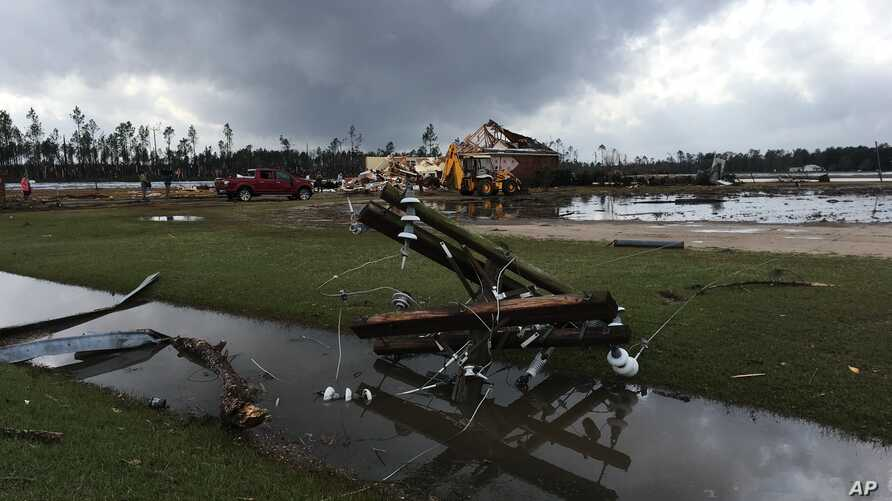 Damage from an apparent tornado Sunday, January 22 at a farm In Cook County, Georgia.