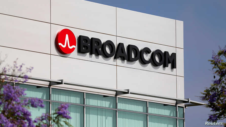 FILE - The Broadcom logo is pictured on an office building in Rancho Bernardo, California, May 12, 2016.