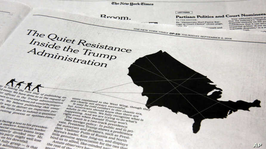This photo shows an anonymous opinion piece in The New York Times in New York, Sept. 6, 2018.