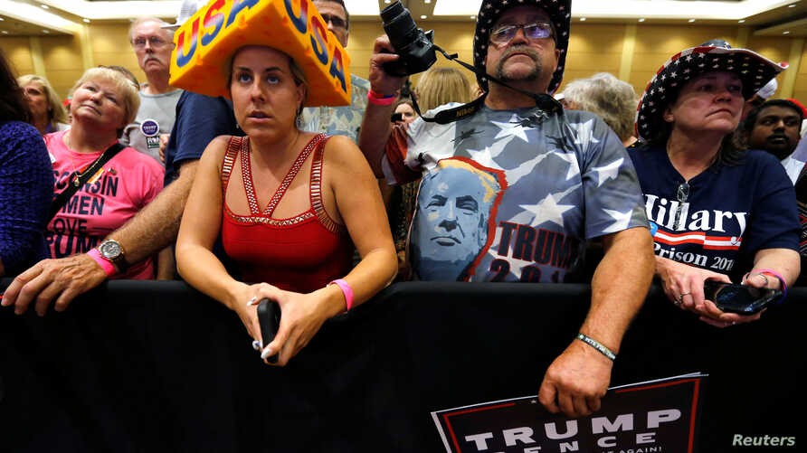FILE - Supporters rally with Donald Trump in Green Bay, Wisconsin, October 17, 2016.