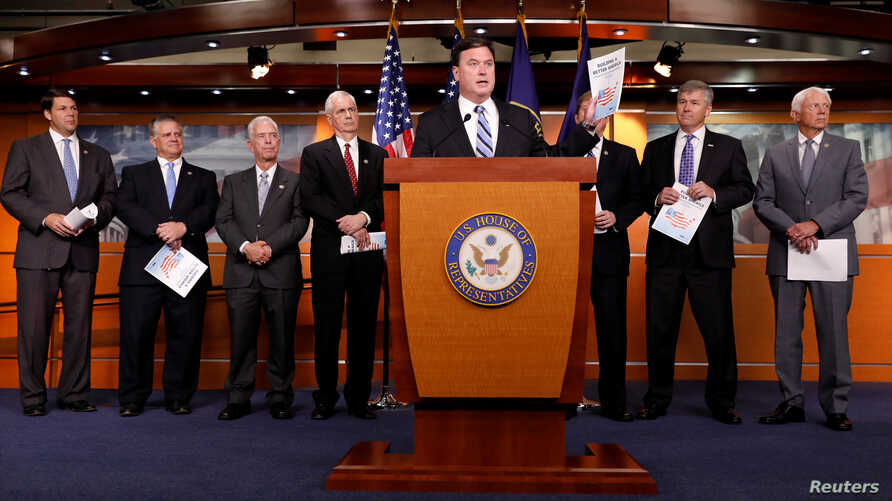 Rep. Todd Rokita (R-IN) announces the 2018 budget blueprint during a press conference on Capitol Hill in Washington, July 18, 2017.