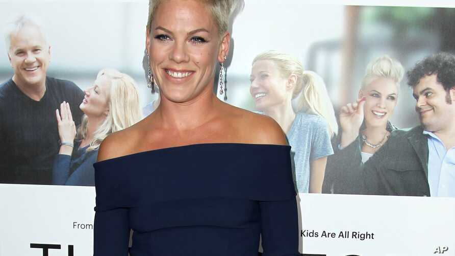 """FILE - In this Monday, Sept. 16, 2013 file photo, Alecia Moore aka Pink arrives at the premiere of """"Thanks for Sharing"""" at the ArcLight Hollywood, in Los Angeles."""