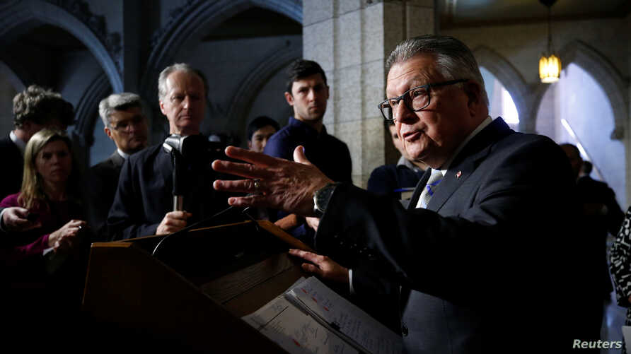 Canada's Public Safety Minister Ralph Goodale speaks during a news conference on Parliament Hill in Ottawa, Ontario, March 20, 2018.