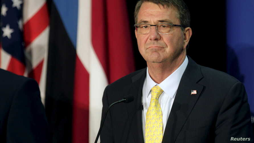 U.S. Secretary of Defense Ash Carter listens during a news conference in Tallinn, Estonia, June 23, 2015.
