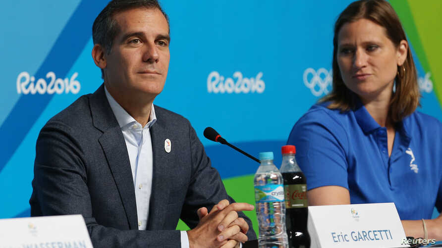 Los Angeles mayor Eric Garcetti and Angela Ruggiero during a LA2024 Los Angeles bid press conference during the Rio 2016 Summer Olympic Games at Olympic Gold Course, Aug 9, 2016, Rio de Janeiro, Brazil.