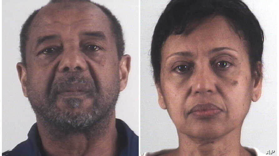 This combination of photos provided by the Tarrant County Sheriff's Department in Texas shows Mohamed Toure, left, and Denise Cros-Toure, a Fort Worth couple accused of enslaving a Guinean woman for 16 years.