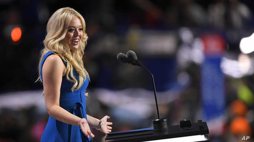 Tiffany Trump, daughter of Republican presidential nominee Donald Trump, speaks on the second day of the Republican National Convention in Cleveland, July 19, 2016.  (AP)