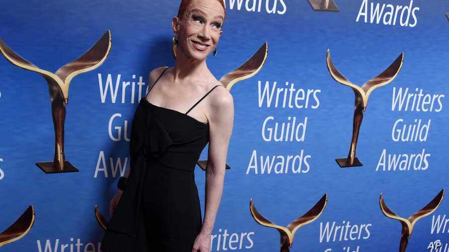 Comedian Kathy Griffin poses at the 2018 Writers Guild Awards at the Beverly Hilton, Feb. 11, 2018, in Beverly Hills, Calif.