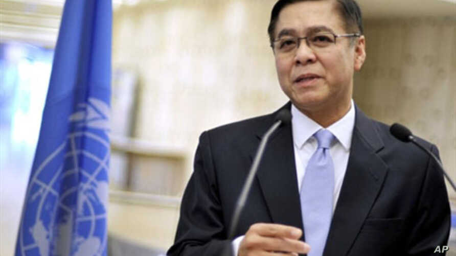 The President of the Human Rights Council Thailand's Sihasak Phuangketkeow announces  the names of a three-members commission that will conduct investigations into suspected crimes against humanity in Libya, March 11, 2011