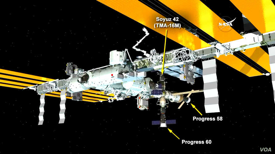The ISS Progress 60 cargo craft is now docked to the Pirs docking compartment, July 5, 2015. (Credit: NASA TV)
