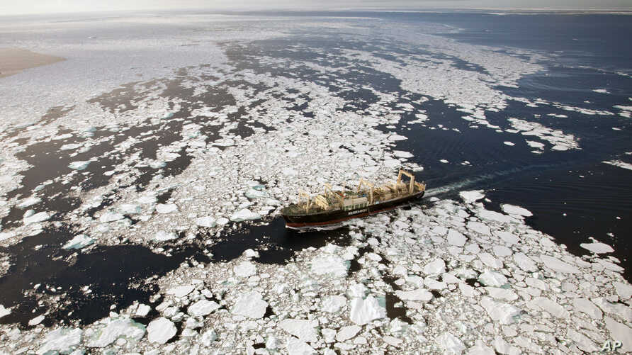 The Nisshin Maru trying to outrun the Steve Irwin by going through heavy ice