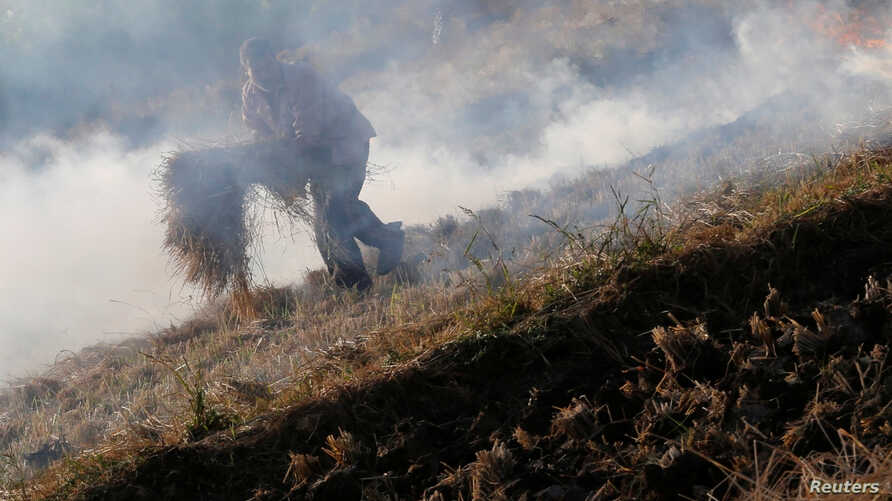 "FILE - A farmer burns rice straw at his field in Qalyub, causing a ""black cloud"" of smoke that spreads across the Nile valley, near the agricultural road which leads to the capital city of Cairo, Egypt, Oct. 26, 2016."