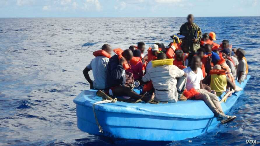84 Haitian migrants on a 42-foot vessel approximately 30 miles southwest of Turks and Caicos Islands, Oct. 28, 2018. While on routine patrol the cutter Thetis crew located the migrant vessel and embarked all 84 migrants for repatriation to Port-au-Pr