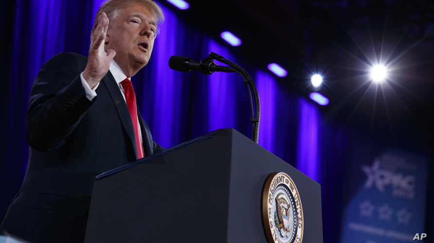 President Donald Trump delivers remarks to the Conservative Political Action Conference, Feb. 23, 2018, in Oxon Hill, Md.