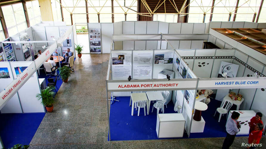 FILE - A view of the pavilion stalls run by U.S. companies at Cuba's annual trade fair in Havana, Cuba, Oct. 30, 2017.