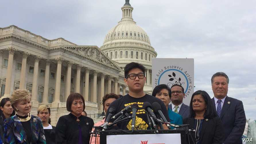Jung Bin Cho was brought to Virginia as a 7-year-old child and has been protected by DACA through his university studies. (Photo: E. Sarai/VOA)