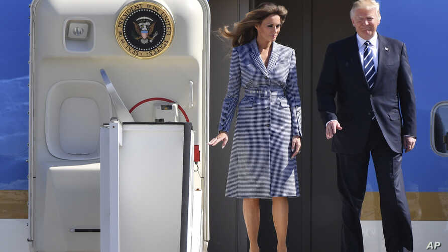 US President Donald Trump and his wife Melania arrive at Melsbroek Military Airport in Melsbroek, Belgium on May 24, 2017.