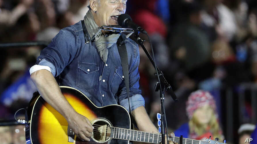 "Bruce Springsteen performs during a Hillary Clinton campaign event at Independence Mall in Philadelphia, Pennsylvania, Nov. 7, 2016. Springsteen questioned whether President-elect Donald Trump ""is simply competent enough to do this particular this pa"