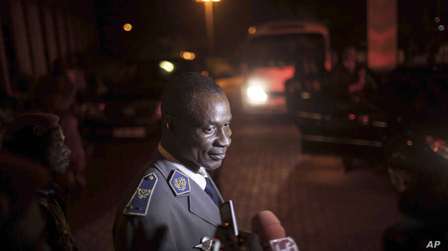 Gen. Gilbert Diendere, who was named leader of Burkina Faso on Thursday, speaks to media in Ouagadougou, Burkina Faso, Sept. 19, 2015.