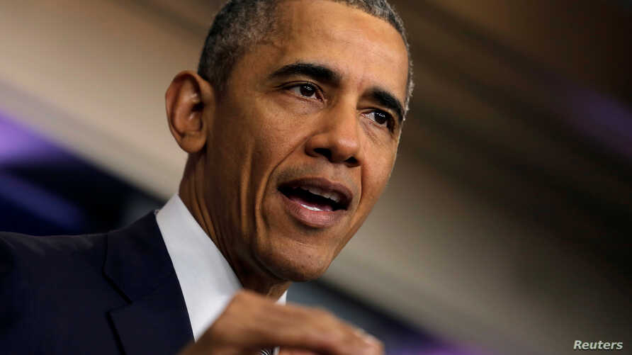 US President Barack Obama delivers a statement on the economy at the press briefing room at the White House in Washington, US, May 6, 2016.