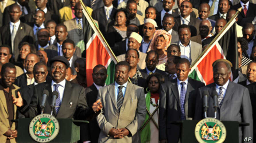 Kenya's Prime Minister, Raila Odinga makes an address to the public as President Mwai Kibaki and other members of parliament listen after an official announcement of provisional results of Kenya's constitutional referendum in Nairobi, August 5, 2010.