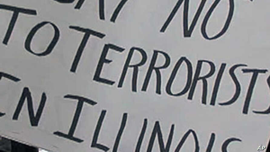 Protesters converged on a high school in Sterling, Illinois where a state commission was holding a public meeting on the possible sale of a prison