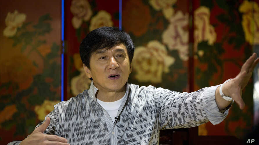Action star Jackie Chan speaks during an interview in Beijing, Aug. 3, 2015.