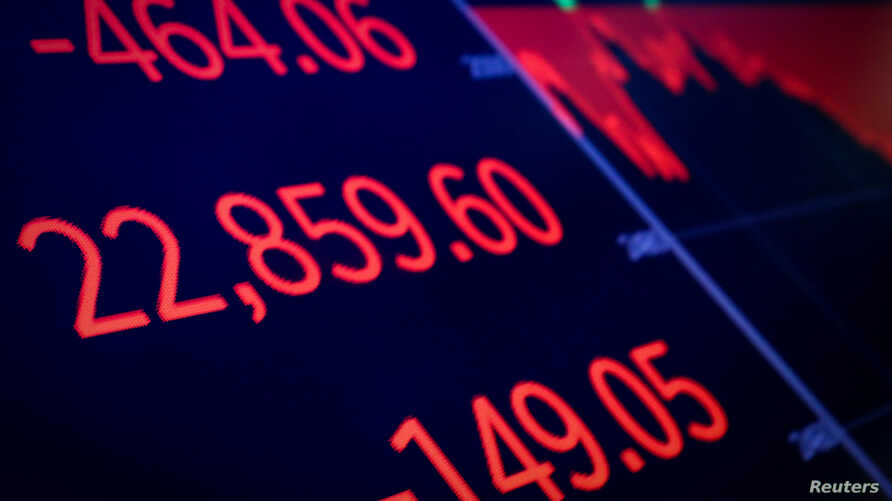 A screen displays the Dow Jones Industrial Average after the close of trading on the floor of the New York Stock Exchange (NYSE) in New York City, Dec. 20, 2018.