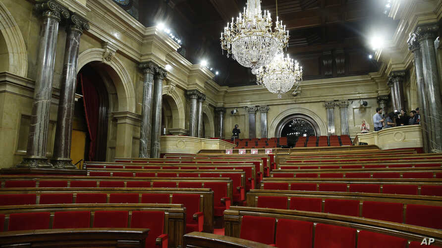 A view of the empty Catalan Parliament in Barcelona, Spain, Jan. 30, 2018.