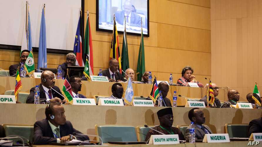 FILE - African Union chairman Moussa Faki (2nd L-top) sitting with members of the Intergovernmental Authority for Development (IGAD) as they attend a signing ceremony for the ceasefire agreement among South Sudanese parties to end the four-year war i
