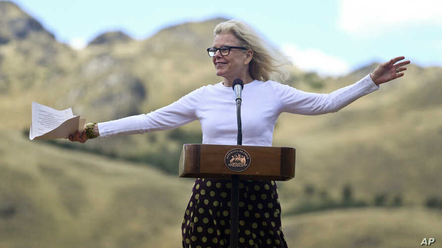Kristine McDivitt Tompkins, widow of late American conservationist Doug Tompkins, speaks during a signing ceremony in Patagonia Park, Chile, Jan. 29, 2018. Chile's president signed decrees creating vast new national parks using lands donated by the T