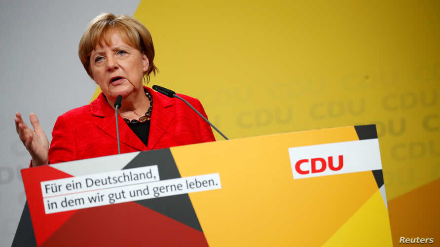 German Chancellor Angela Merkel, a top candidate of the Christian Democratic Union Party (CDU) for the upcoming general elections, speaks at an election rally in Schwerin, Germany, Sept. 19, 2017.