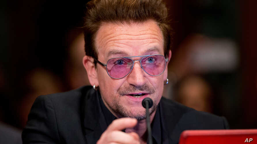 Irish rock star and activist Bono testifies on Capitol Hill in Washington before a Senate subcommittee hearing on the causes and consequences of violent extremism and the role of foreign assistance, April 12, 2016.