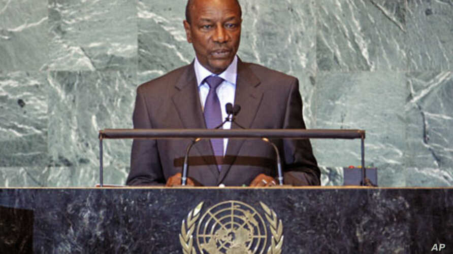 Guinea's President Alpha Cond� addresses the 66th United N