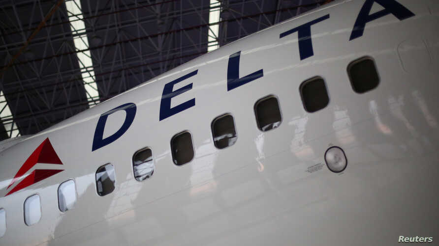 A Delta Airlines aeroplane is seen inside of a hangar in Mexico City, Mexico, May 3, 2017.